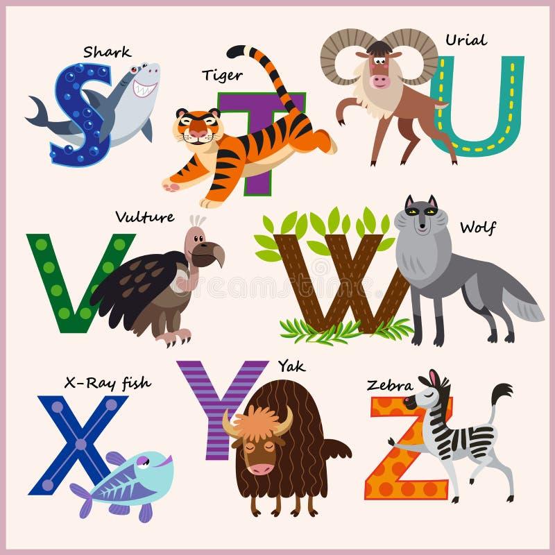 Alfabet van de jonge geitjes het vectordierentuin met dieren vector illustratie