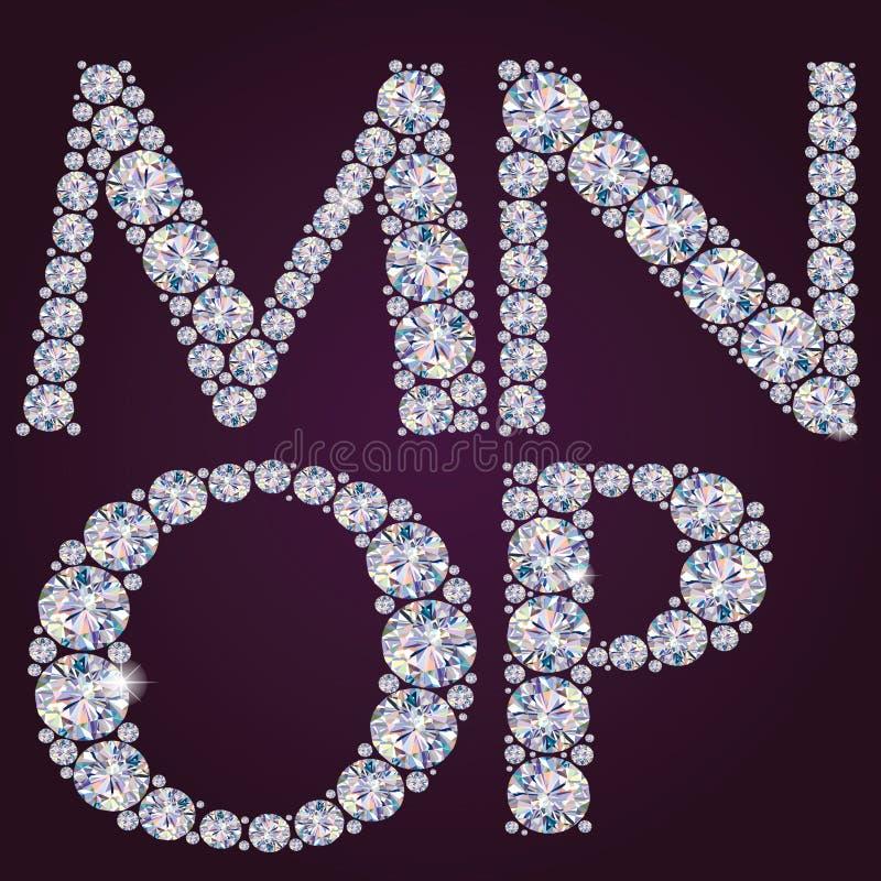 Alfabet van diamanten MNOP royalty-vrije illustratie