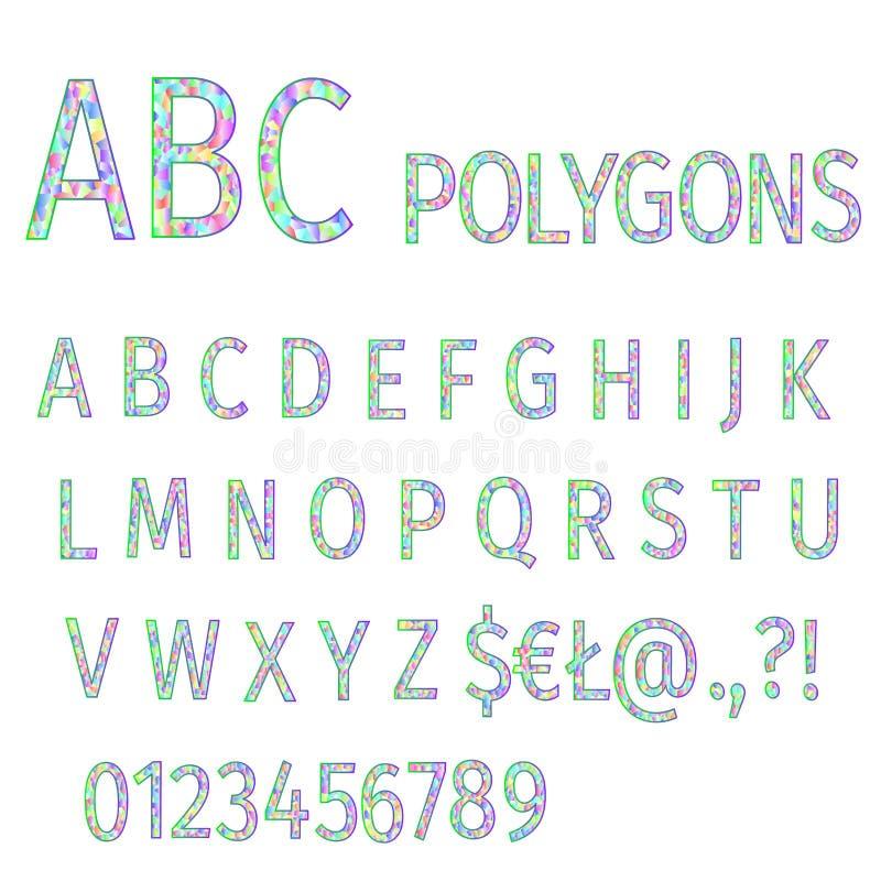 Alfabet van doopvont van het veelhoeken de multi gekleurde mozaïek en aantallen editable vectorillustratie vector illustratie
