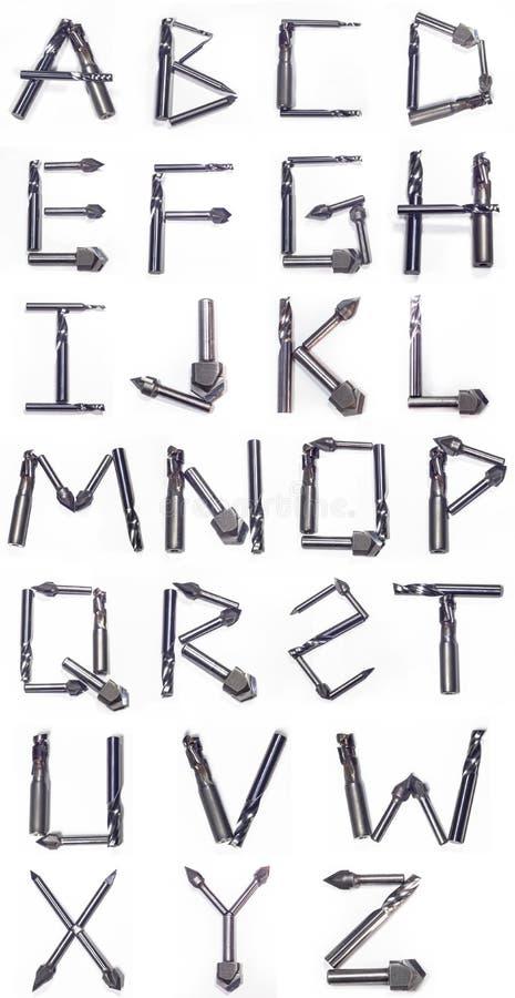 Alfabet van industriële molens wordt gecreeerd die stock afbeeldingen