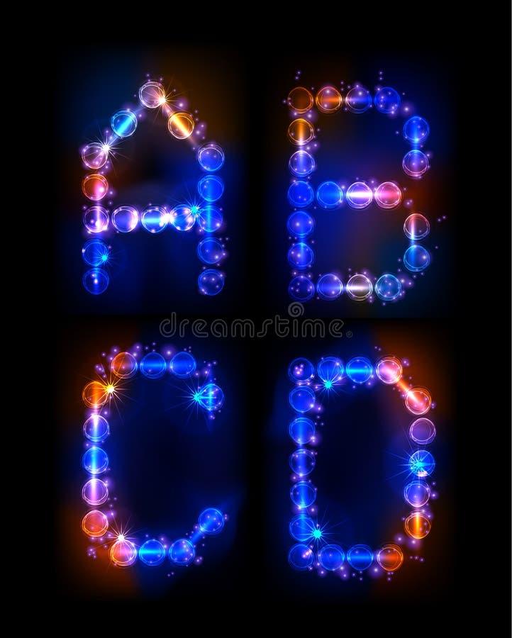 Alfabet van neonbellen die wordt gemaakt vector illustratie