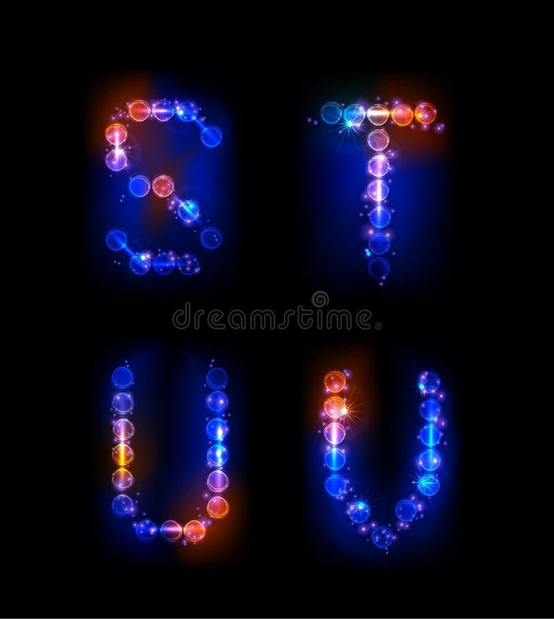 Alfabet van neonbellen die wordt gemaakt royalty-vrije illustratie