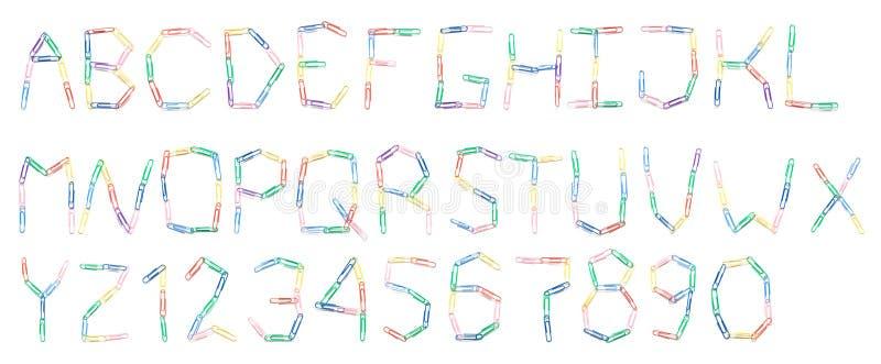 Alfabet van paperclips vector illustratie