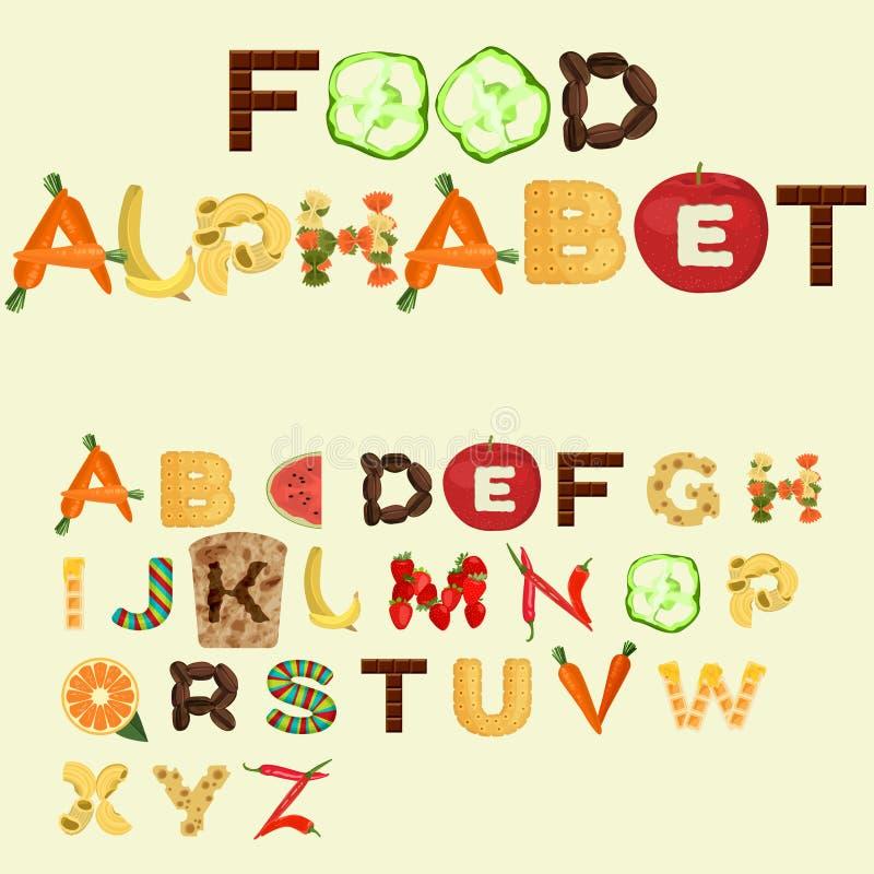 Alfabet van verschillend voedsel, vlak ontwerp wordt gemaakt dat stock fotografie
