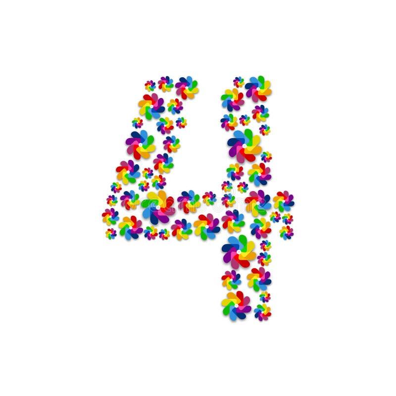 Alfabet vastgestelde brief nummer vier of 4, Turbinedocument patroon, de Vernieuwbare die illustratie van het windenergieconcepto stock illustratie