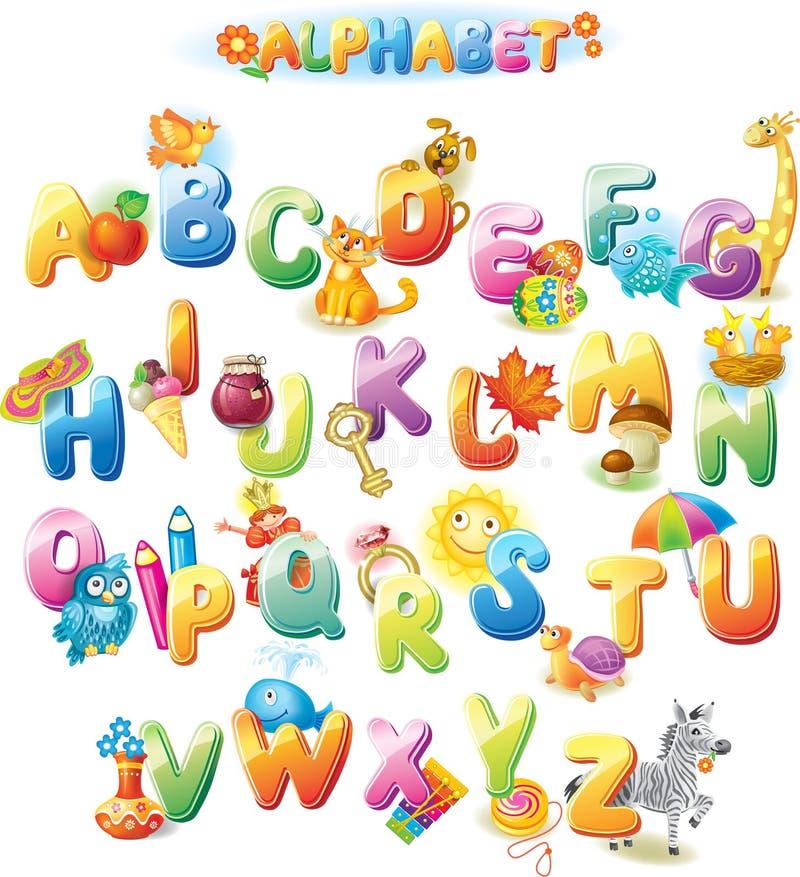 Alfabet voor jonge geitjes met beelden stock illustratie