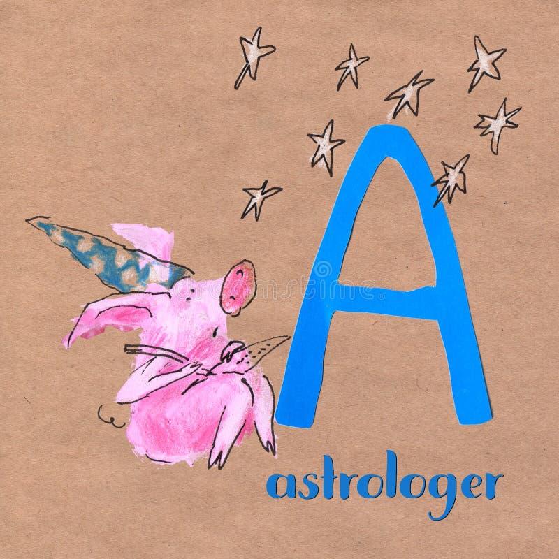 Alfabet voor kinderen met varkensberoep Brief A astroloog royalty-vrije illustratie