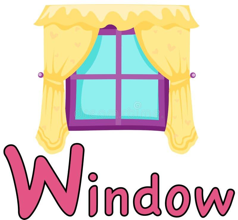 Alfabet W voor venster vector illustratie
