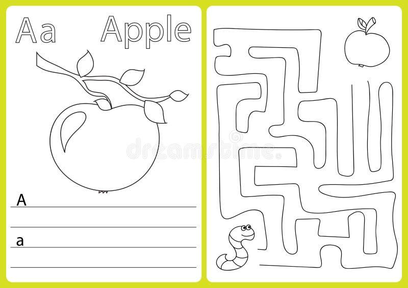 Alfabet A-Z - raadselaantekenvel, Oefeningen voor jonge geitjes - Kleurend boek stock illustratie