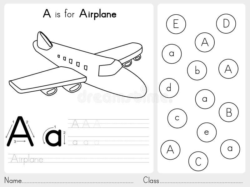 Alfabet A-Z Tracing och pusselarbetssedel, övningar för ungar - färgläggningbok stock illustrationer