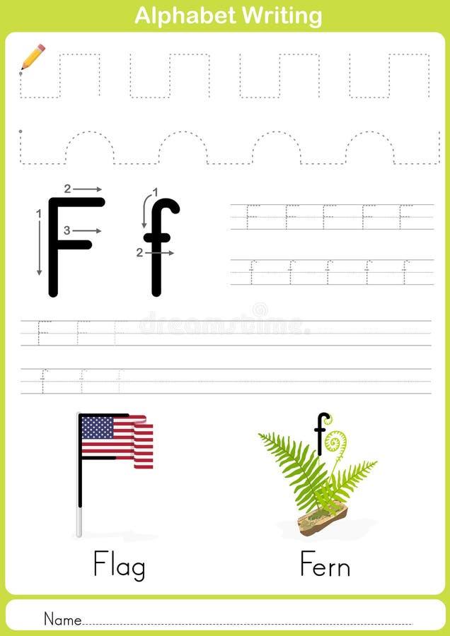 Alfabet A-Z Tracing Worksheet, övningar för ungar - papper som A4 är klart att skriva ut stock illustrationer