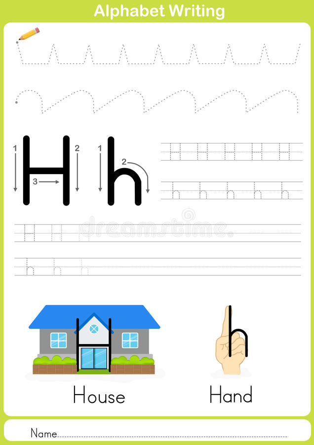 Alfabet A-Z Tracing Worksheet, övningar för ungar - papper som A4 är klart att skriva ut royaltyfri illustrationer