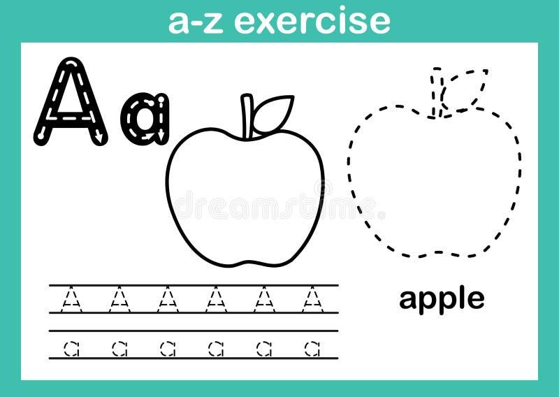 Alfabeta-zövning med tecknad filmordlista för färgläggningbok vektor illustrationer