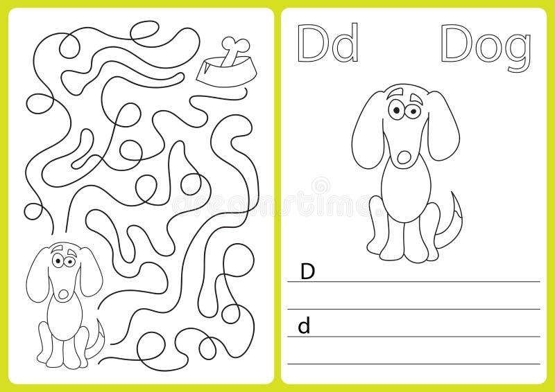 AlfabetA-Z - förbrylla arbetssedeln, övningar för ungar - färgläggningbok vektor illustrationer