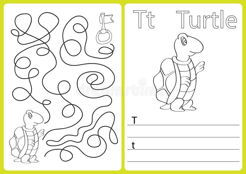 AlfabetA-Z - förbrylla arbetssedeln, övningar för ungar - färgläggningbok stock illustrationer