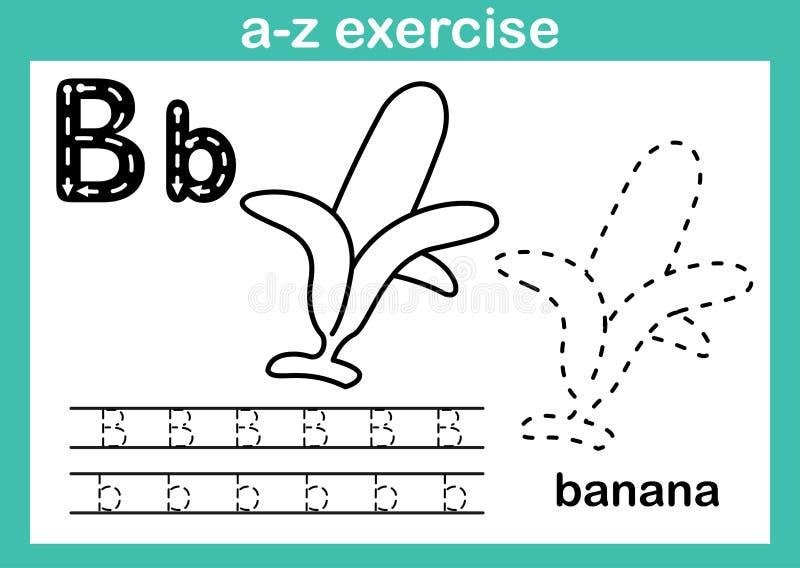 Alfabeta-z oefening met beeldverhaalwoordenschat voor het kleuren van boek stock illustratie