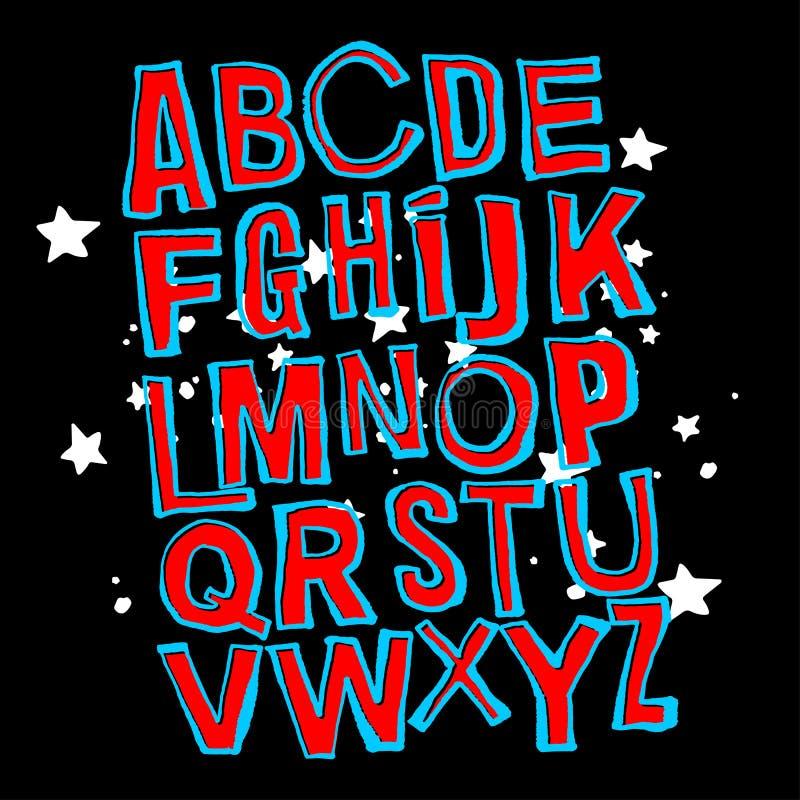 Alfabetaffiche, droge artistieke moderne de kalligrafiedruk van de borstelinkt stock illustratie