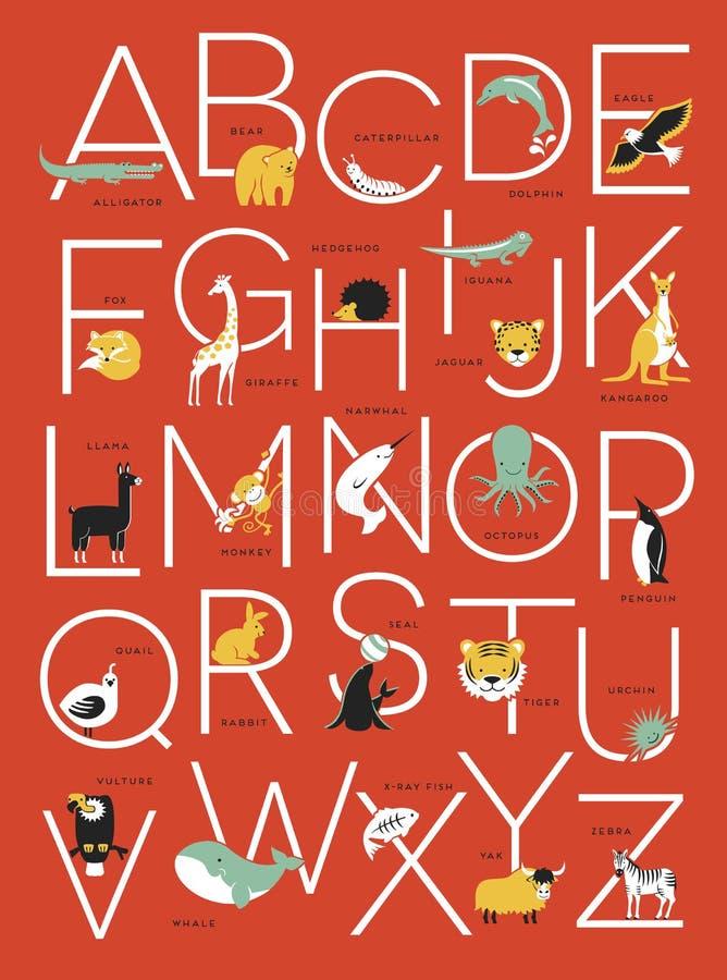 Alfabetaffischdesign med djura illustrationer