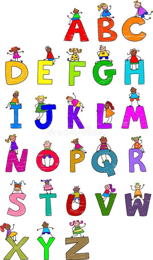 alfabetbarn vektor illustrationer