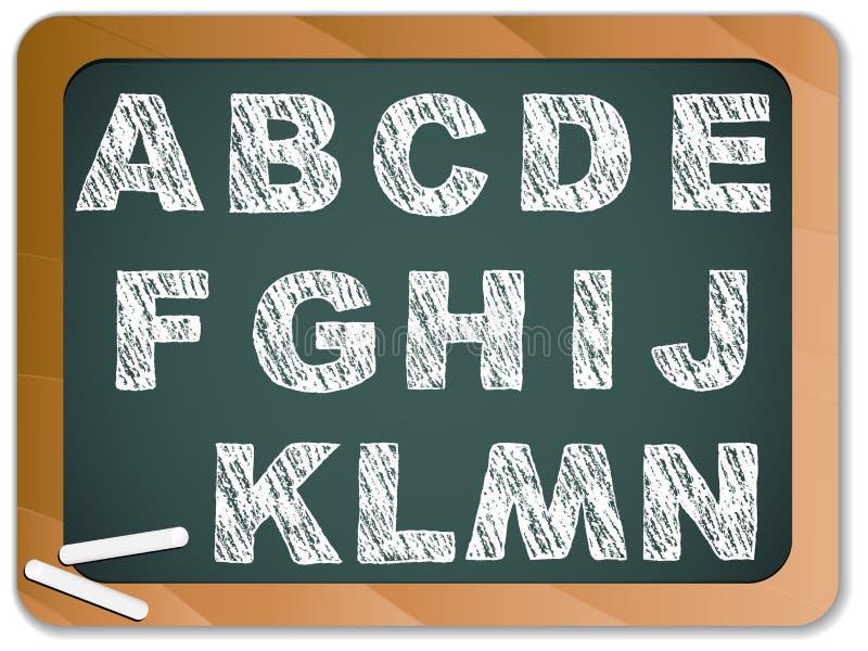 alfabetblackboardkrita stock illustrationer