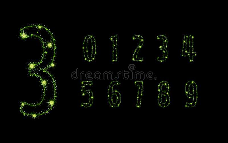 Alfabetbokstäver från att blänka gröna stjärnor vektor illustrationer