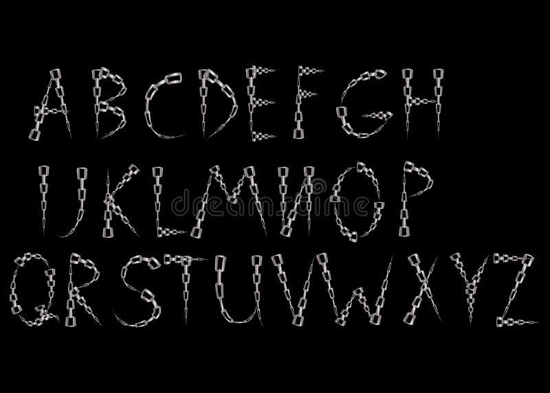 alfabetbokstäver gjorde från metallkedja royaltyfri illustrationer