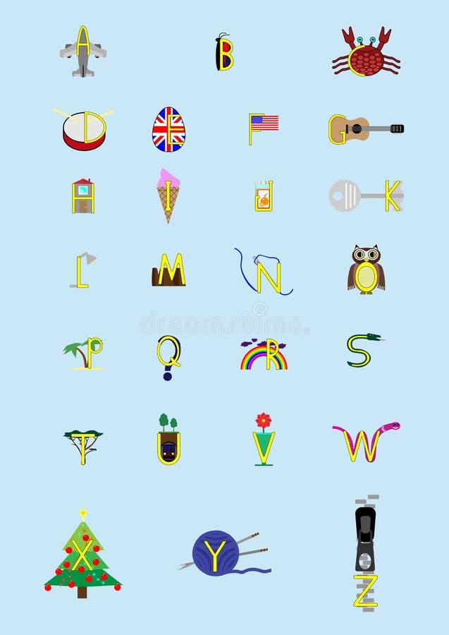 Alfabetbokstäver med bilder royaltyfria foton