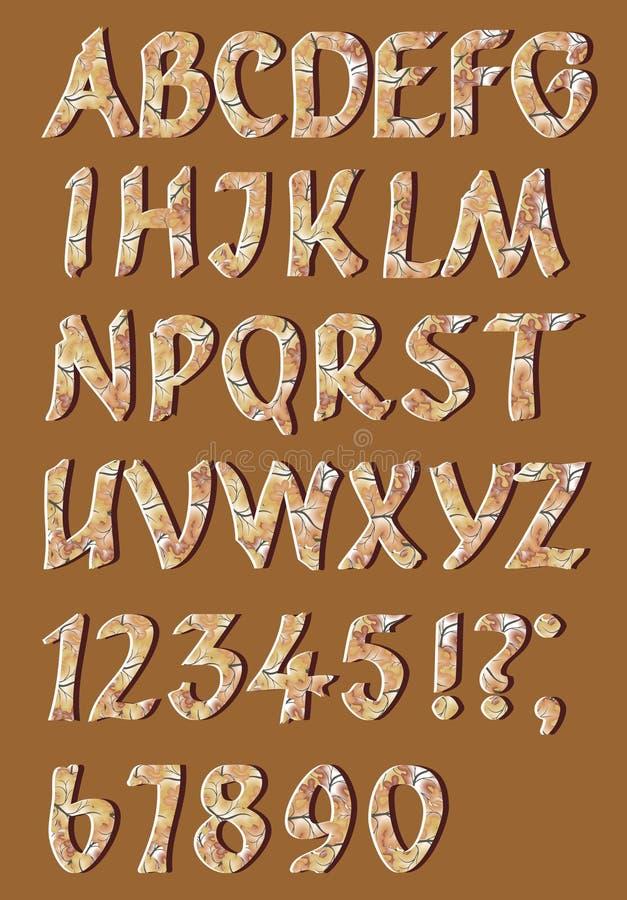 Alfabetbokstäver med nummer vektor illustrationer