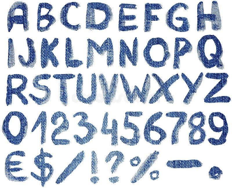 Alfabetbokstäver med symboler och nummer stock illustrationer