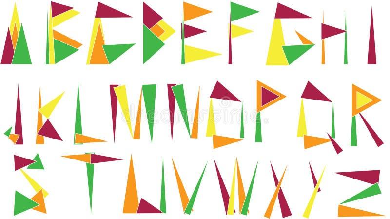 Alfabetbokstäver som göras från trianglar royaltyfri illustrationer