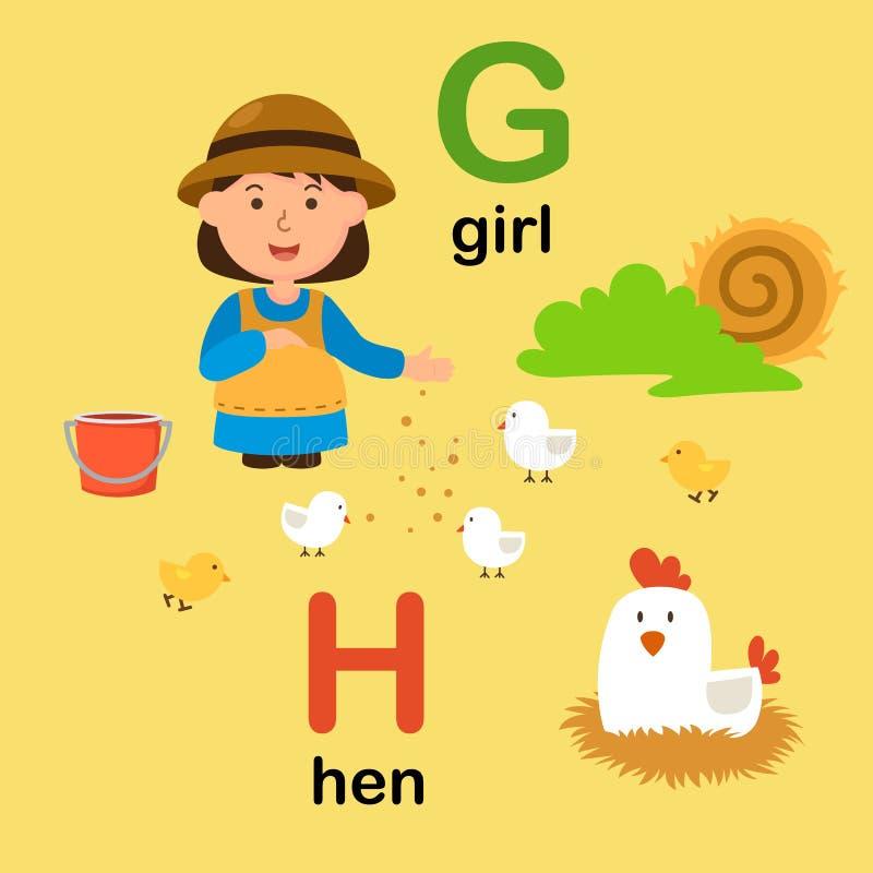 AlfabetbokstavsG-flicka, H-höna, illustration vektor illustrationer