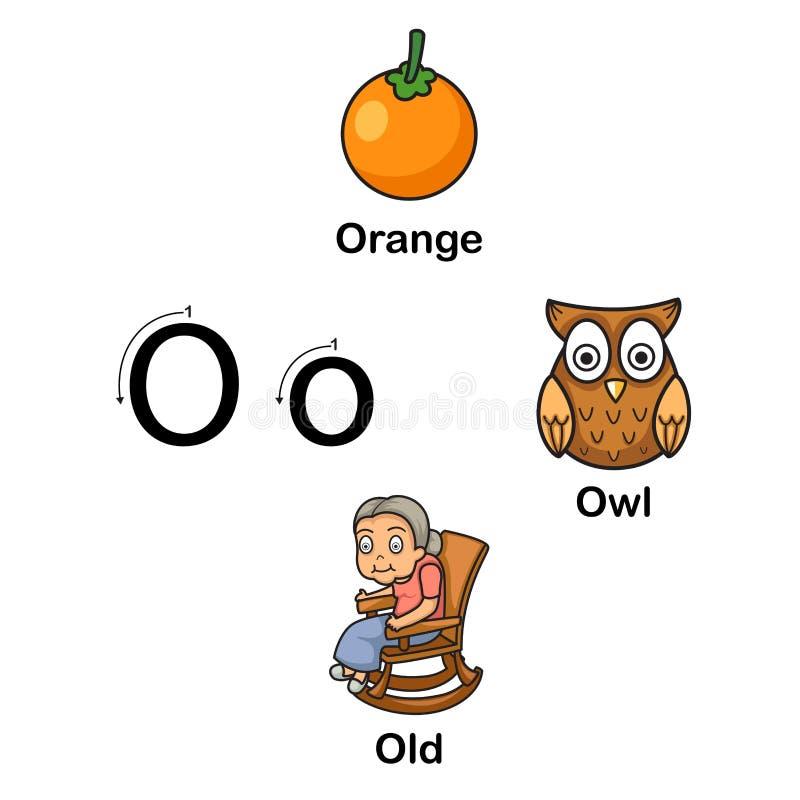 AlfabetbokstavsNolla-apelsin, uggla, gammal vektorillustration vektor illustrationer