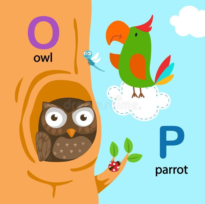 AlfabetbokstavsNolla-uggla, P-papegoja stock illustrationer