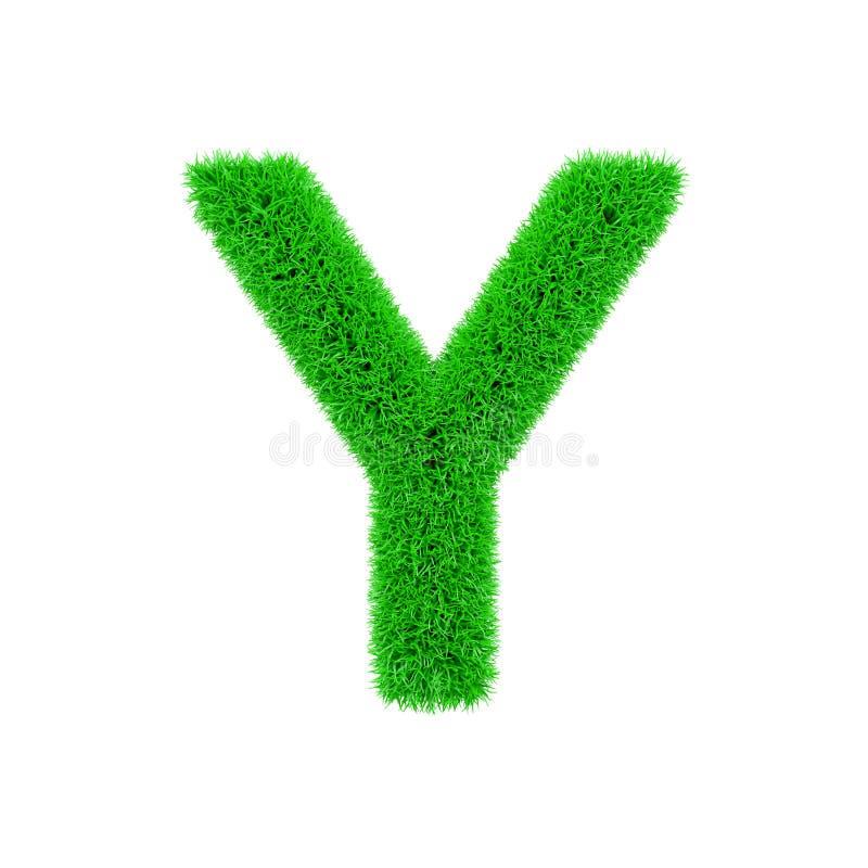 Alfabetbrief Y in hoofdletters Grasrijke die doopvont van vers groen gras wordt gemaakt 3d geef op witte achtergrond geïsoleerd?  royalty-vrije illustratie