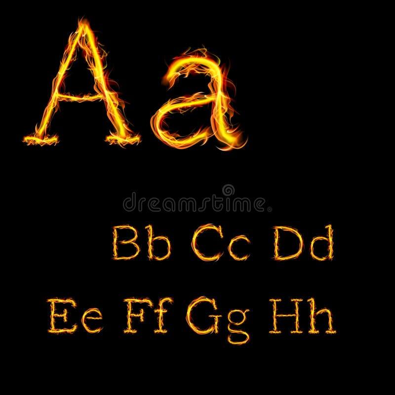 Alfabetbrieven in brandvlammen 1 royalty-vrije illustratie