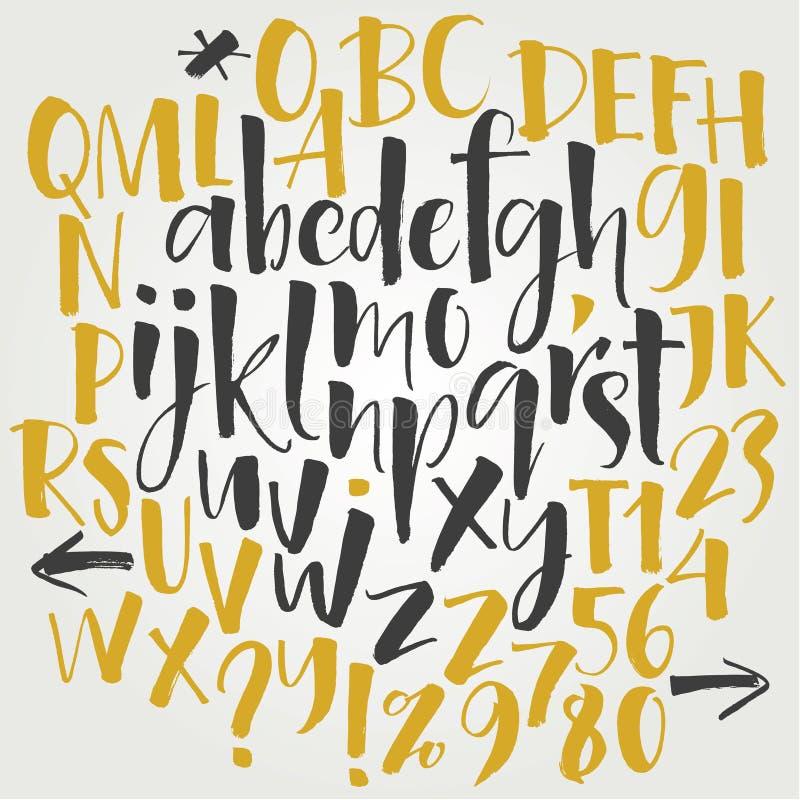 Alfabetbrieven: in kleine letters, in hoofdletters, aantallen Vector alfabet Hand getrokken brieven Brieven van het alfabet met z royalty-vrije illustratie