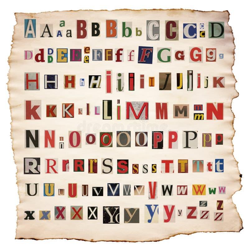 Alfabetbrieven van krant, tijdschrift worden gemaakt dat royalty-vrije stock fotografie