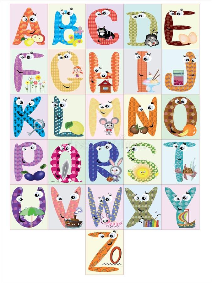 alfabetcmyk stock illustrationer