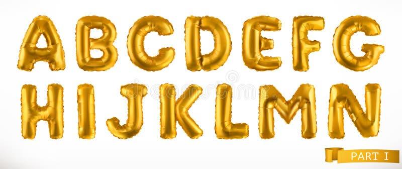 Alfabetdeel 1 Gouden opblaasbare stuk speelgoed ballons Brieven A - N 3D Doopvont Drie kleurenpictogrammen op kartonmarkeringen royalty-vrije illustratie