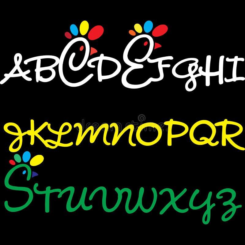 Alfabetdesign för ungar stock illustrationer