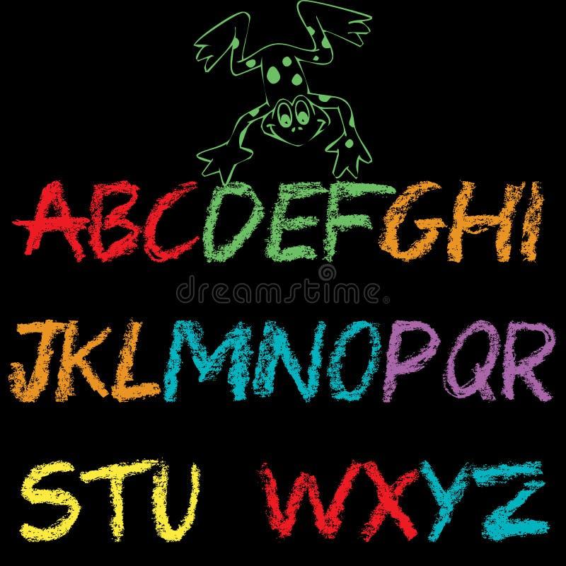 Alfabetdesign för ungar och andra som är märkes- vektor illustrationer