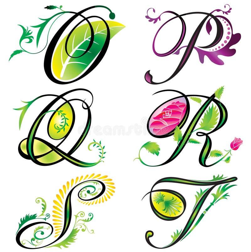 alfabetdesignelement s stock illustrationer