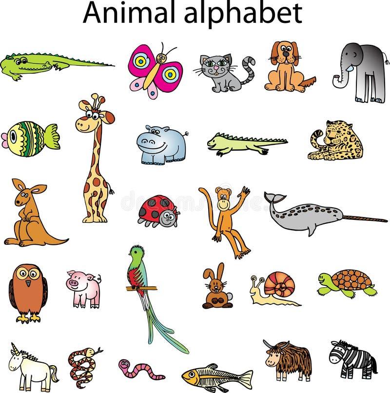 alfabetdjurdjur stock illustrationer