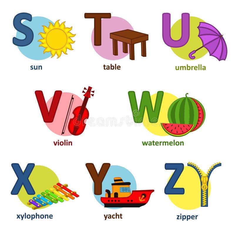 Alfabetengelska från S till Z royaltyfri illustrationer