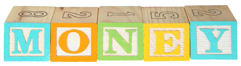 alfabetet blockerar pengar arkivbild