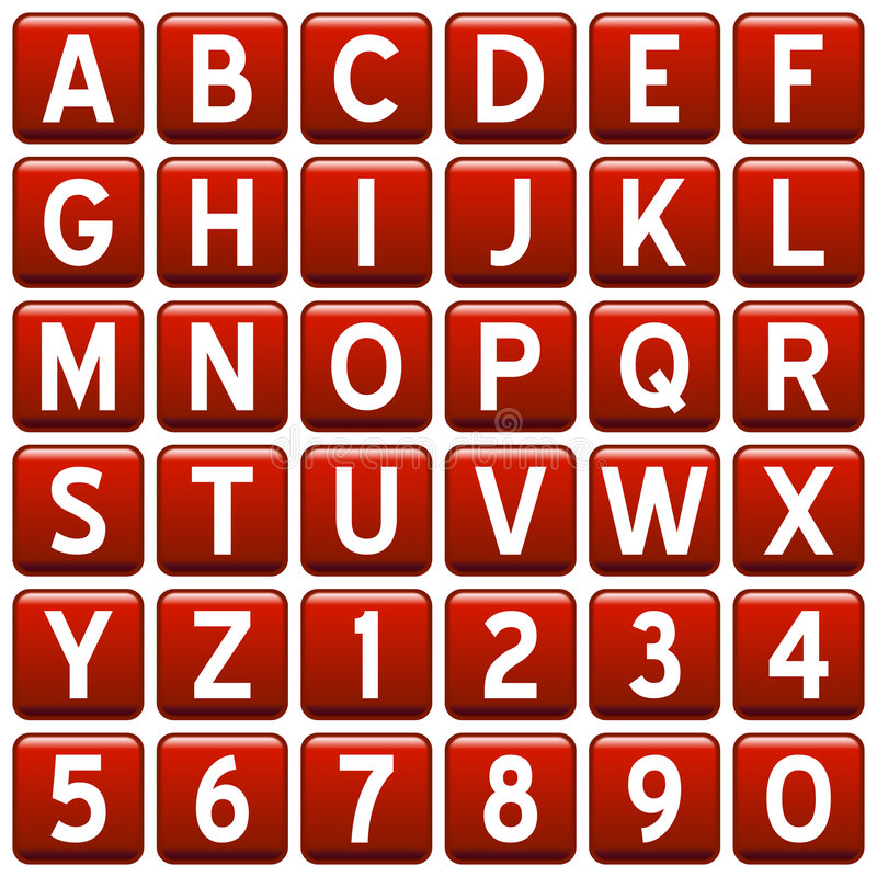 alfabetet buttons den röda fyrkanten vektor illustrationer