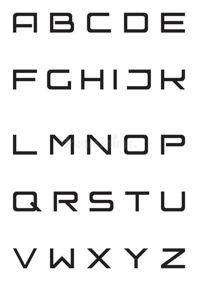alfabetet caps det stränga stilsortslåset stock illustrationer