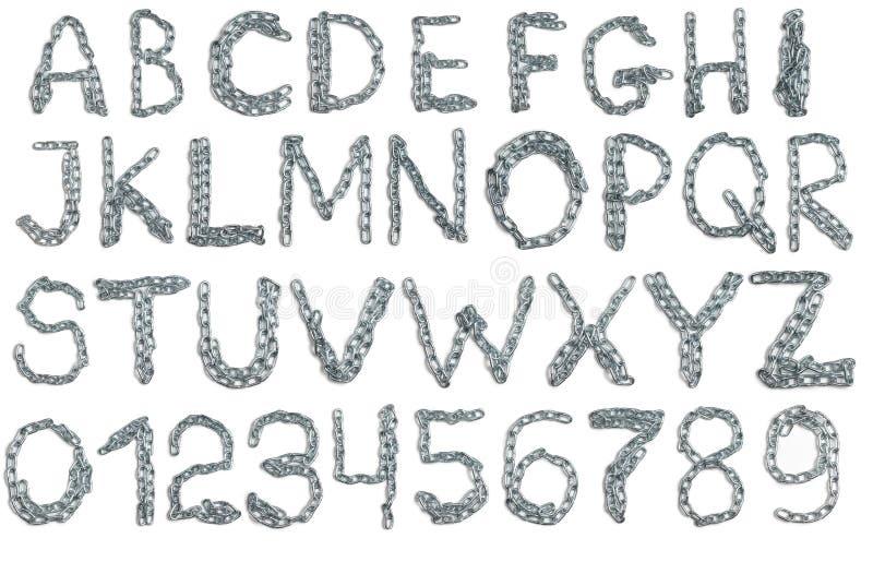 Alfabetet från belägger med metall kedjar stock illustrationer
