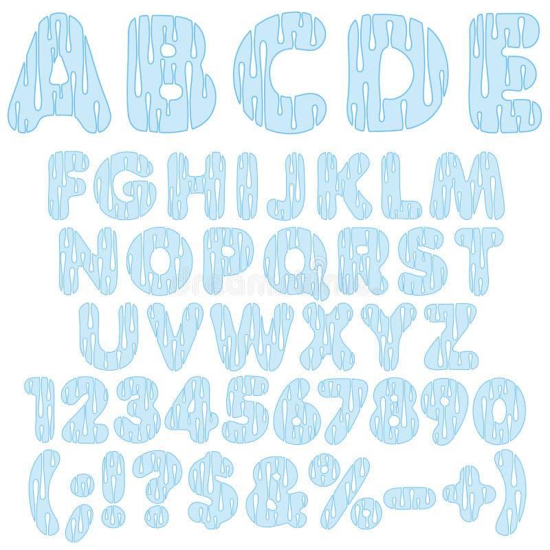 Alfabetet märker, nummer och tecken från droppar av vatten färger kunde den olika vektorn för bruk för objekt för emblemsdatalist stock illustrationer