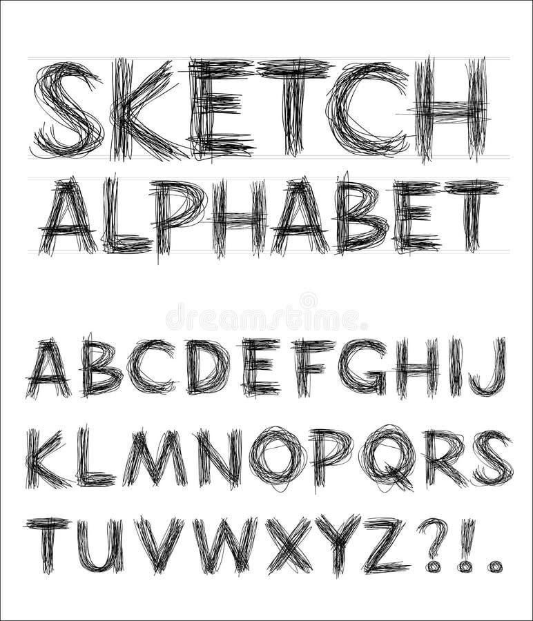 alfabetet skissar vektorn royaltyfri illustrationer